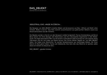 Prospekt - Das Objekt, Zürich
