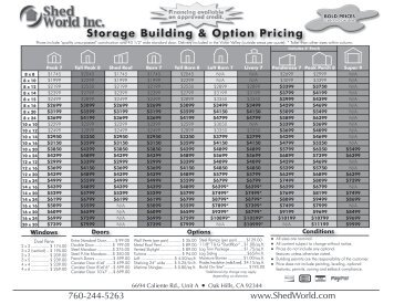 Storage Building & Option Pricing - Shed World Inc