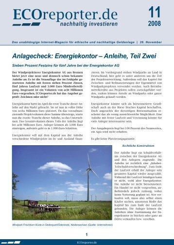 Anlagecheck: Energiekontor – Anleihe, Teil Zwei - ECOreporter.de