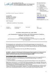 Schriftliche Stellungnahme der LaKof NRW zur Anhörung zum