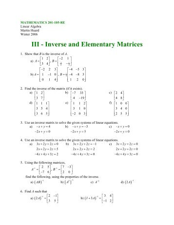 III - Inverses and Elementary Matrices - SLC Home Page