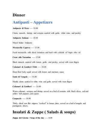 Dinner menu - Enzo & Angela The Italian Restaurant