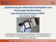 Optimierung der Informationskompetenz von Psychologie ... - ZPID