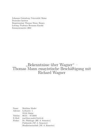"""Bekenntnisse über Wagner"""" – Thomas Mann essayistische ..."""