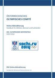 Online-Akkreditierung: Sochi 2014 Handbuch für Athleten ... - ÖOC