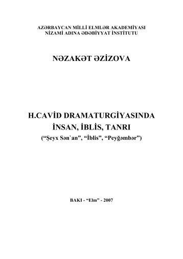 H.Cavid dramaturgiyasında İnsan, İblis,Tanrı[Mətn] - Azərbaycan ...