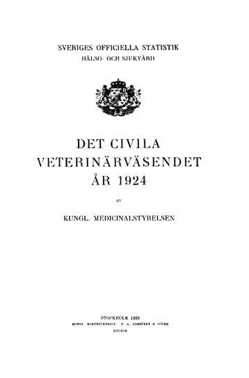 Det civila veterinärväsendet. År 1924 = Hygiène et service ...