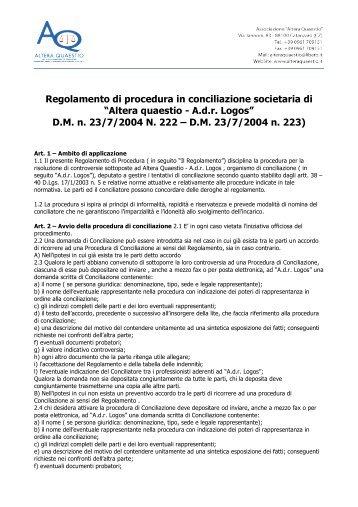Regolamento di procedura in conciliazione societaria ... - ADR Logos