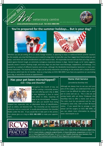 Newsletter Summer 2013 - Ark Veterinary Centre