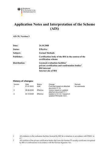 AIS - Bundesamt für Sicherheit in der Informationstechnik