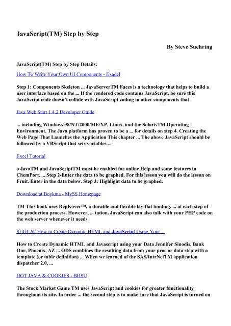 Download JavaScript(TM) Step by Step pdf ebooks by Steve