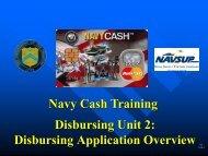 Disbursing Unit 2: Disbursing Application Overview Navy Cash ...