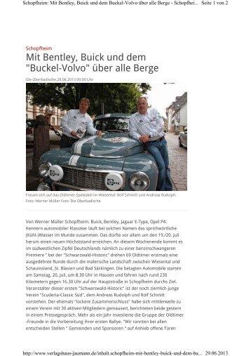 """Mit Bentley, Buick und dem """"Buckel-Volvo"""" über alle Berge"""