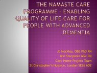 enabling quality of life for people with advanced dementia