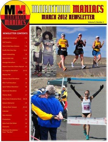 NEWSLETTER CONTENTS - Marathon Maniacs