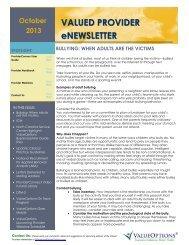 October 2013 Newsletter - The Valued Provider (PDF) - ValueOptions