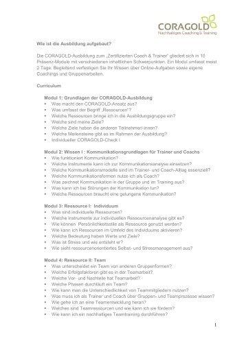 Curriculum aktuell für Webseite - Coragold.de