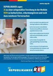 Flyer - Stoppt Tierversuche - Die Republikaner Mittelfranken
