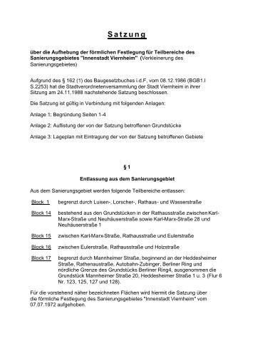"""""""Innenstadt Viernheim"""" (Verkleinerung des Sanierungsgebietes"""