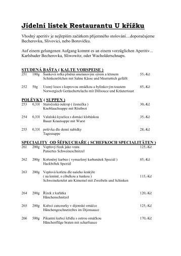 Jídelní lístek (pdf) - Penzion U Křížku