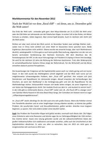 Marktkommentar für den November 2012 Nach der Wahl ist vor dem ...