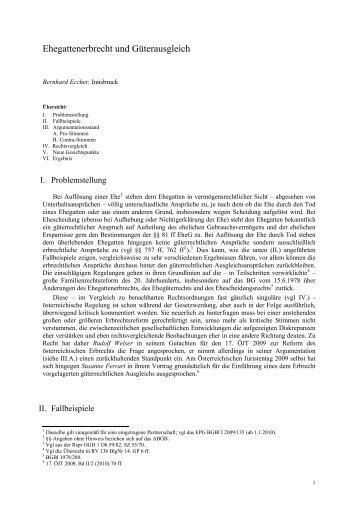 Ehegattenerbrecht und Güterausgleich - Österreichische ...