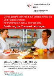 Vortragsreihe der Klinik für Strahlentherapie und Radioonkologie für ...