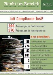 Juli-Compliance-Test! - RACK rechtsanwaelte