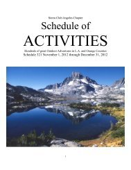the schedule of activities - Sierra Club - Angeles Chapter