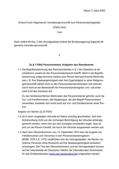 Entwurf einer Allgemeinen Verwaltungsvorschrift zum ...