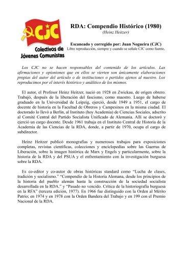 RDA: Compendio Histórico - Colectivos de Jóvenes Comunistas