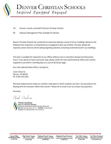 TO: Parents, Faculty, and Staff of Denver Christian Schools RE ...