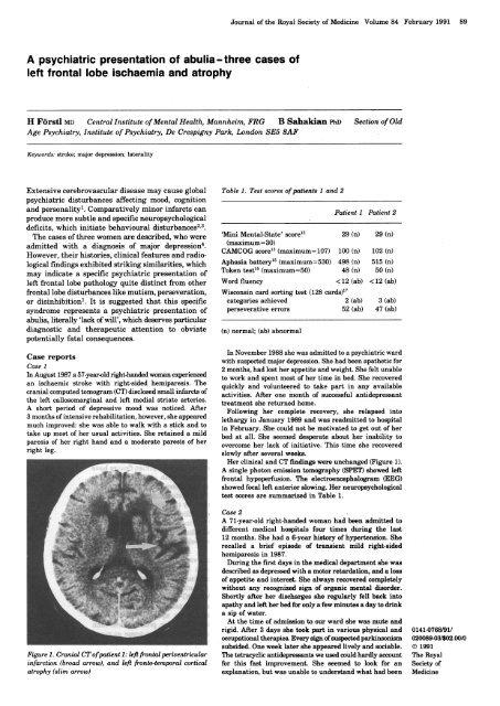 A Psychiatric Presentation Of Abulia Three Cases Of Left Frontal Lobe