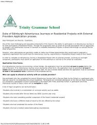 External Provider Application Form - Trinity Grammar School