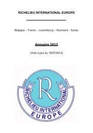RICHELIEU INTERNATIONAL EUROPE Annuaire 2013
