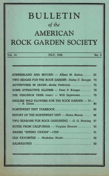 Bulletin - July 1956 - North American Rock Garden Society