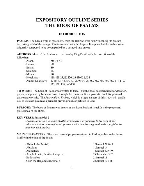 expository outline series the book of psalms - Harvestime