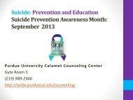 Suicide Prevention - Purdue University Calumet