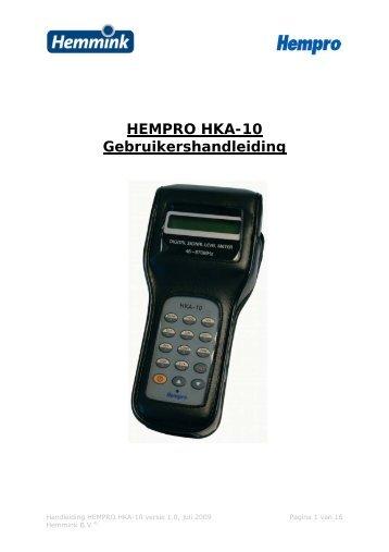 Handleiding HKA-10.pdf - Hemmink BV