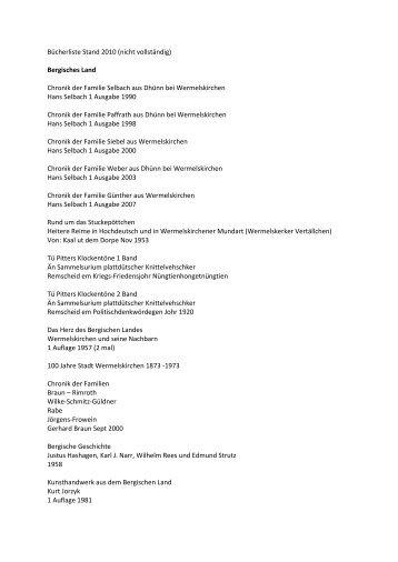 Bergisches Land Chronik der Familie Selbach aus ... - genealogy4you