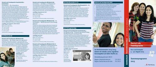Deutsch als Fremdsprache Sommerprogramm 2013