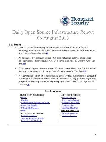 August 6, 2013 - Homeland Security