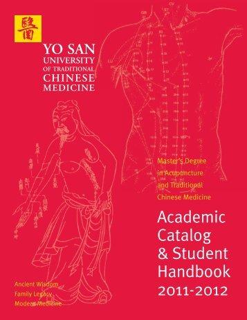 Academic Catalog & Student Handbook 2011-2012 - Yo San ...