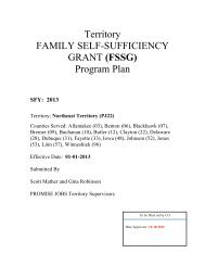 Territory FAMILY SELF-SUFFICIENCY GRANT (FSSG) Program Plan