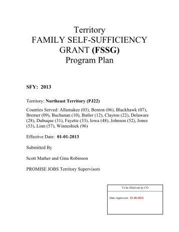 Territory FAMILY SELF-SUFFICIENCY GRANT (FSSG) Program Plan