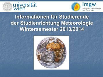 Studien - Institut für Meteorologie und Geophysik - Universität Wien