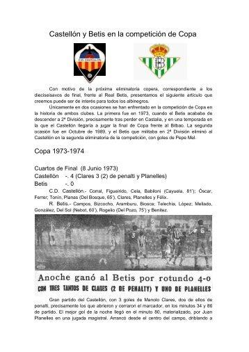 Castellón y Betis en la competición de Copa