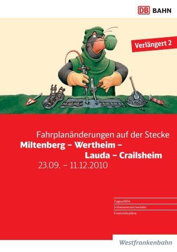 Fahrplanänderungen auf der Stecke Miltenberg – Wertheim – Lauda ...