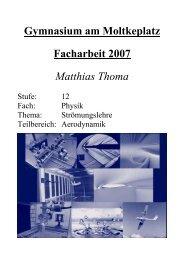 Facharbeit 2007: Aerodynamik - Gymnasium am Moltkeplatz