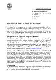 Richtlinien für die Vergabe von Diplom- bzw. Masterarbeiten